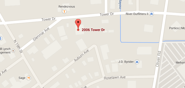Map of 2006 tower dr location
